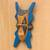 Wood African mask, 'Bibawa' - Blue and Orange Hand Carved Wood African Goodness Wall Mask (image 2b) thumbail