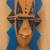 Wood African mask, 'Bibawa' - Blue and Orange Hand Carved Wood African Goodness Wall Mask (image 2c) thumbail