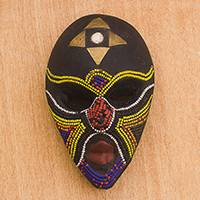 African wood mask, 'Emyinnaya' - Multi-Color Bead Mosaic on Black Wood African Wall Mask
