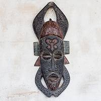 African wood mask, 'Adinkra Festival' - Sankofa Symbol African Sese Wood Mask from Ghana