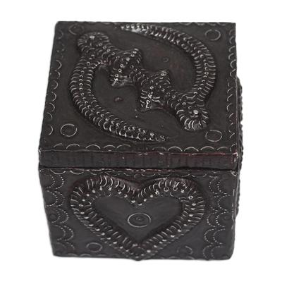 Adinkra Pattern Aluminum and Wood Decorative Box from Ghana