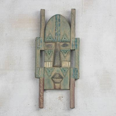 African wood mask, 'Atanfo Nye Nyame' - Rustic African Wood Mask in Green and Beige from Ghana
