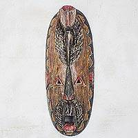 African wood mask, 'Oval Bird Head' - Bird-Themed Distressed African Wood Mask from Ghana