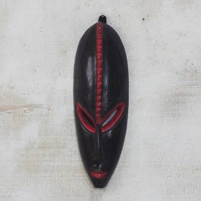 African wood mask, 'Cocoa' - African Wood Mask in Black and Red from Ghana