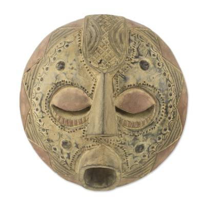 Akan wood mask, 'Abundance' - Akan Wood Mask from Ghanaian Artisan