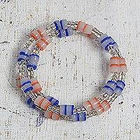 Recycled glass and plastic beaded wrap bracelet,
