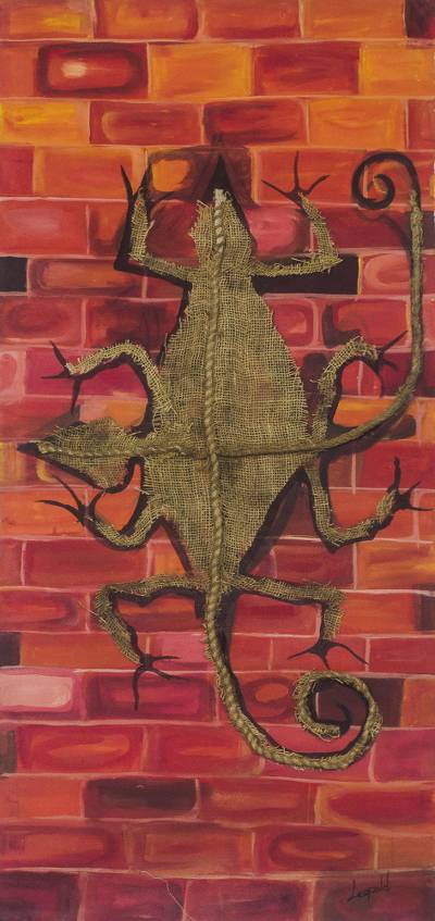 Signed Mixed Media Painting of a Lizard from Ghana (2018)