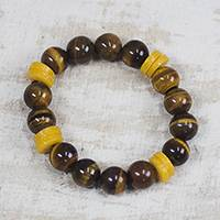 Tiger's eye and recycled glass beaded stretch bracelet, 'Care for the Earth' - Tiger's Eye and Recycled Glass Beaded Stretch Bracelet