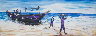 'New Arrival' - Signed Impressionist Painting of Fishermen from Ghana