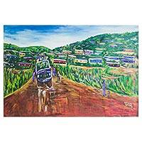 'Breakdown at the Village' - Signed Impressionist Landscape Painting from Ghana