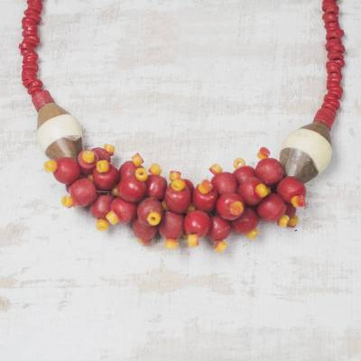 Recycled glass and wood beaded pendant necklace, 'Nuku Beads' - Red Recycled Glass and Wood Beaded Pendant Necklace