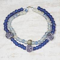 Recycled glass and ceramic beaded strand necklace, 'Blue Lolonyo' - Recycled Glass and Ceramic Beaded Necklace in Blue