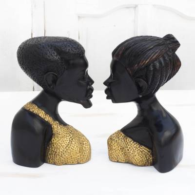 Wood and brass sculptures, 'Become One' (pair) - Wood and Brass Man and Woman Sculptures from Ghana (Pair)