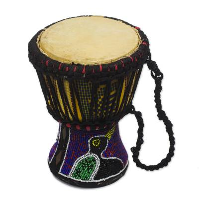 Recycled Plastic Beaded Wood Djembe Drum from Ghana