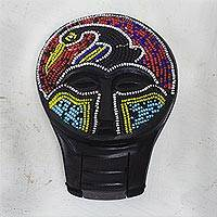 Recycled plastic beaded wood hand mirror, 'Eco Sankofa' - Recycled Plastic Beaded Wood Mask Hand Mirror from Ghana