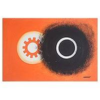 'Day and Night' - Signed Abstract Painting in Orange form Ghana