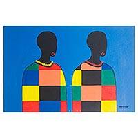 'From the North' - Signed Expressionist Painting of Two People from Ghana