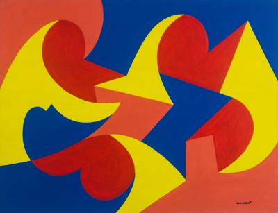 'Reunion' - Primary Color Signed Abstract Painting from Ghana