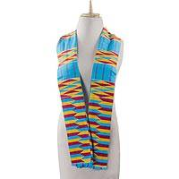 Cotton blend kente scarf, 'Artisan Hands' (2 strips) - Ghanaian 2-Strip Kente Cloth Scarf  in Turquoise and Yellow