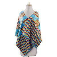 Cotton blend kente shawl, 'Artisan Hands' (4 strips) - Ghanaian 4-Strip Kente Cloth Shawl in Turquoise and Yellow