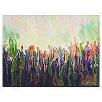 'Complaining Crowd' - Signed Colorful Abstract Painting from Nigeria