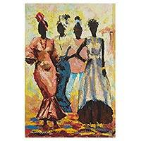 'Who Fine Pass' - Signed Expressionist Painting of Four Women from Nigeria