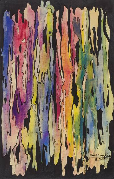 Colorful Abstract Watercolor Painting from Nigeria