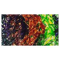 'Trends' - Signed Tri-Color Abstract Painting from Nigeria