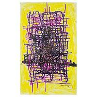 'Too Deeply Involved' - Signed Abstract Painting in Purple and Yellow from Nigeria