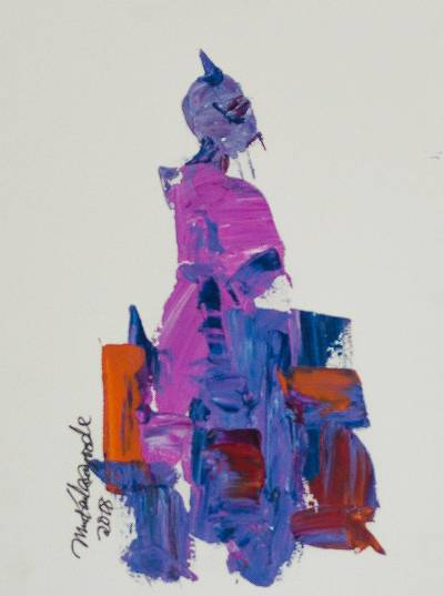'Purple Lady' - Signed Abstract Painting in Purple and Blue from Nigeria