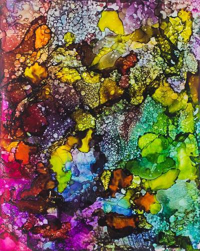 'Orisa Oko II' - Multicolored Abstract Painting Signed by a Nigerian Artist