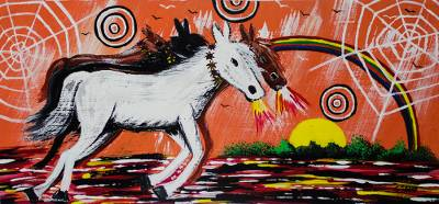 'Endurance' - Signed Surrealist Painting of Horses from Ghana