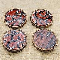 Wood coasters, 'African Maze' (set of 4) - Orange and Blue Wood and Cotton Coasters (Set of 4)
