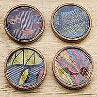 Wood coasters, 'African Design' (set of 4) - Assorted Wood and Cotton Coasters from Ghana (Set of 4)