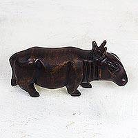 Wood sculpture, 'Bush Cow' - Hand-Carved Sese Wood Tapir Sculpture from Ghana