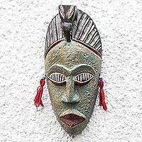 African wood mask, 'Green Hunter' - Unique African Wood Mask in Green from Ghana