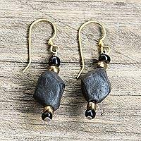 Ceramic and recycled plastic beaded dangle earrings, 'Fascinating Rocks' - Ceramic and Recycled Plastic Dangle Earrings from Ghana