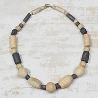 Ceramic beaded necklace, 'Kpormda Beauty' - Brown and Black Ceramic Beaded Necklace from Ghana
