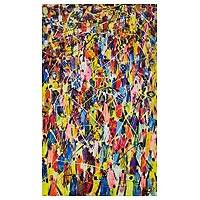 'Population' - Multicolored Abstract Painting by a Ghanaian Artist