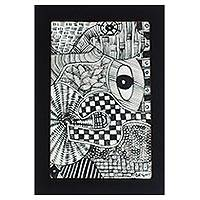 'Fertility' - Signed Black and White Abstract Folk Art Painting from Ghana