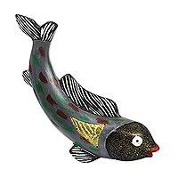 Wood sculpture, 'Grey Fish' - Grey Rustic Sese Wood Fish Sculpture from Ghana