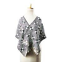 Cotton shawl, 'Wavy Trails' - Wavy Black and White Cotton Shawl from Ghana