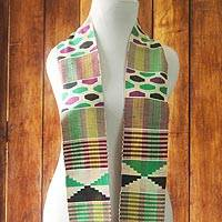 Rayon and cotton blend kente scarf, 'Akoma Colors' - Striped Geometric Rayon and Cotton Blend Kente Scarf