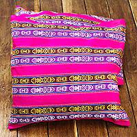 Cotton cushion covers, 'African Fuchsia' (pair) - Striped Unique Cotton Cushion Covers from Ghana (Pair)