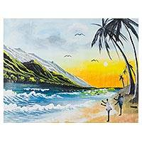 'The Soul Happiness' - Signed Beach Cottage Painting by a Ghanaian Artist