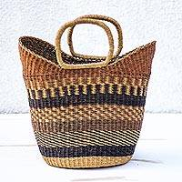 Raffia basket, 'Home Delight' - Patterned Handwoven Raffia Basket from Ghana