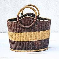 Raffia basket, 'Handwoven Stripes' - Light and Dark Brown Striped Raffia Basket from Ghana