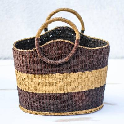 Raffia basket, Handwoven Stripes