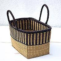 Raffia decorative basket, 'Off to the Market' - Stripe Pattern Handwoven Raffia Decorative Basket from Ghana
