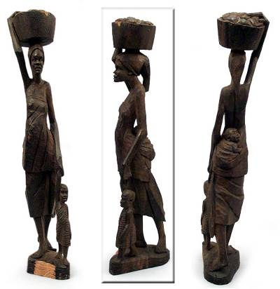 Ebony statuette, 'Working Woman' - Ebony statuette